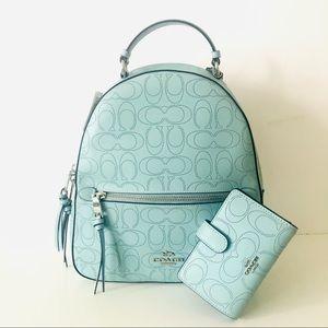 Coach Blue Leather Jordyn Backpack Wallet Set